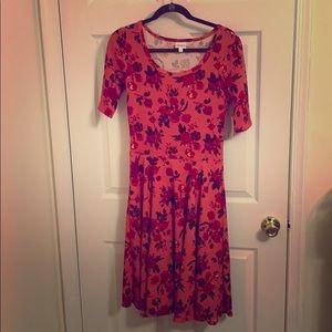 Pink Floral LuLaRoe Nicole Dress, size medium NWT